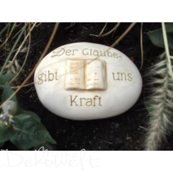 """Grabschmuck Stein """"Der Glaube gibt uns Kraft"""" 11cm x 8cm x 4cm Keramik 3D Motiv"""