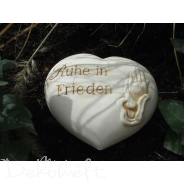 """Grabschmuck Stein """"Ruhe in Frieden"""" 18cm x 14cm x 6cm Keramik 3D Motiv"""