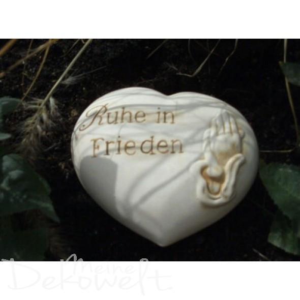 """Grabschmuck Stein """"Ruhe in Frieden"""" 11cm x 10cm x 4cm Keramik 3D Motiv"""