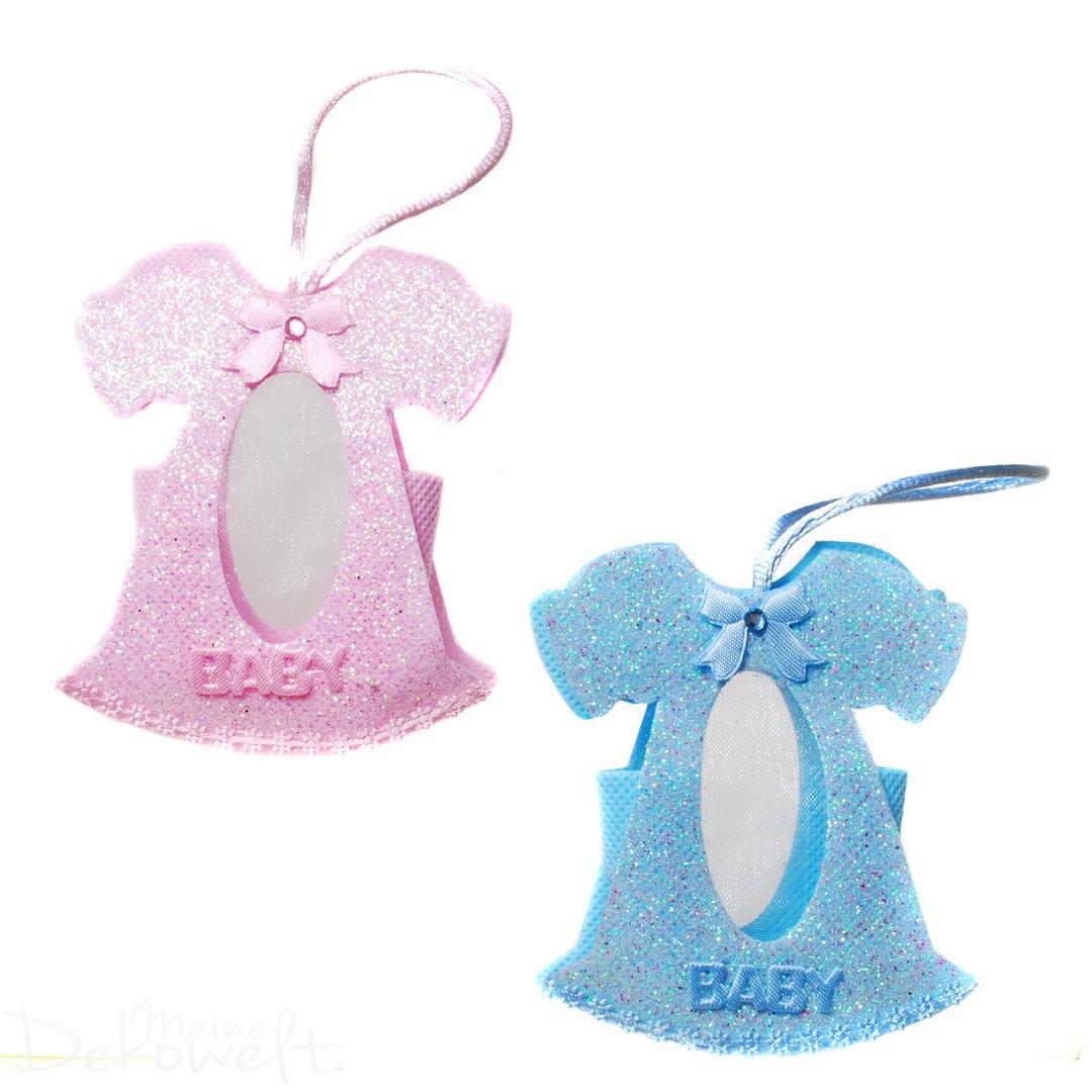 Dekoration Geldgeschenk Baby Kleidchen Blau Rosa Geburt Junge