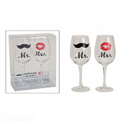 2er-Set Weingläser Hochzeit Mr. & Mrs. 430ml