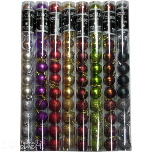 12 Weihnachtskugeln Ø3cm Matt, Glanz und Glitzer verschiedene Farben