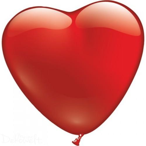 6 rote Herz-Luftballons Ø30cm und Ø15cm