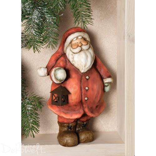 Lachender Weihnachtsmann 30cm Terracotta handbemalt mit Deko-Metallaterne