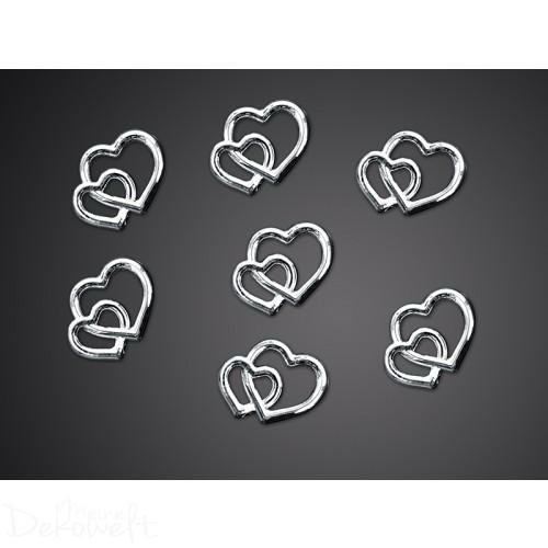 25 Deko Herzen Silber 10mm