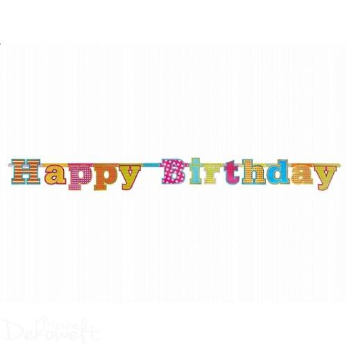 Girlande HAPPY BIRTHDAY holografisch 1,66m