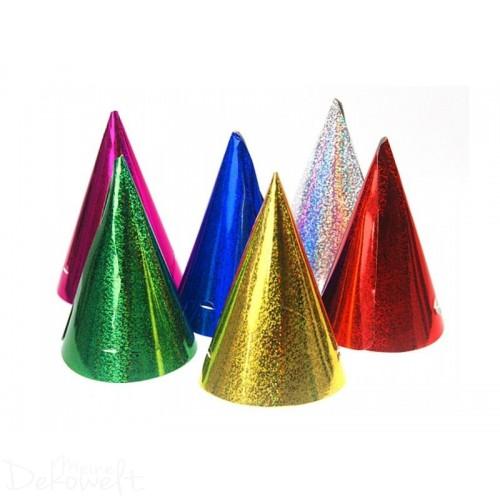12x Partyhut holografische Farben