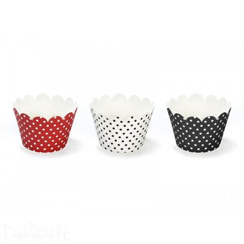 6 Cup Cake Wrapper Rot/Schwarz/Weiß