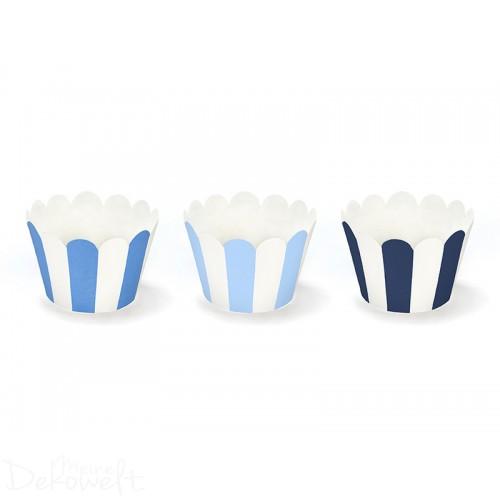 6 Cup Cake Wrapper Blau/Weiß