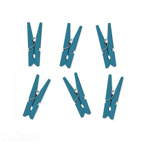 10 Holz Dekoklammern 3,5cm Blau