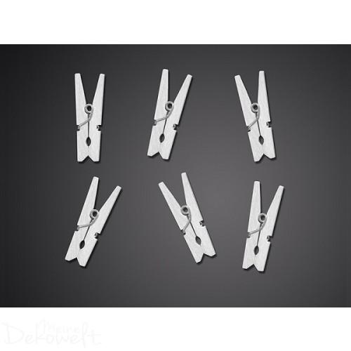 10 Holz Dekoklammern 3cm Weiß