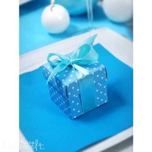 10x Geschenkbox Blau mit weißen Punkten und Schleife