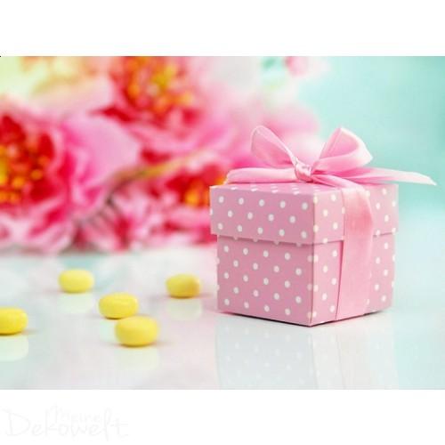10x Geschenkbox Rosa mit weißen Punkten und Schleife
