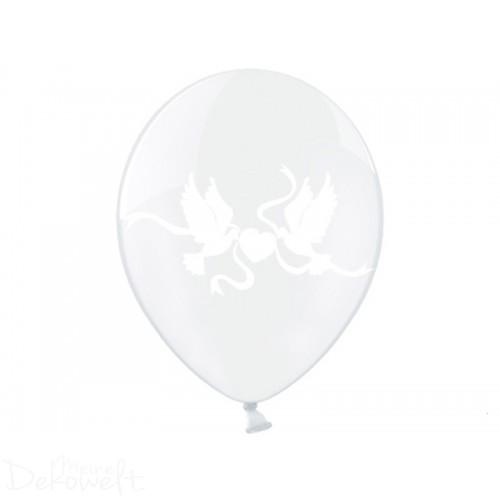 10 Luftballons Hochzeit Ø 30cm transparent weiße Tauben