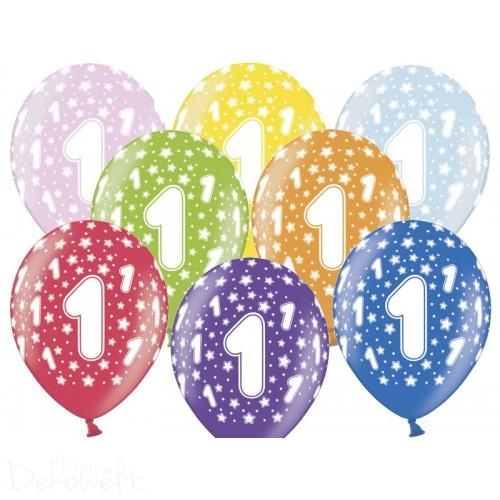 10 Luftballons 1. Geburtstag Metallicfarben Ø 30cm