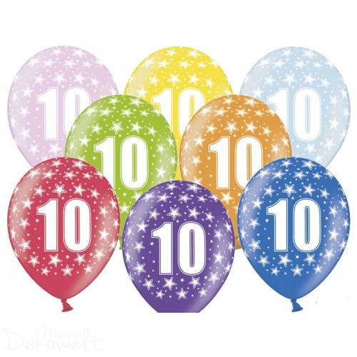 10 Luftballons 10. Geburtstag Metallicfarben Ø 30cm