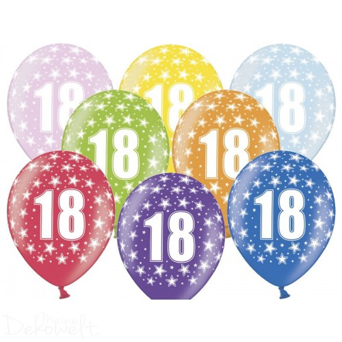 10 Luftballons 18. Geburtstag Metallicfarben Ø 30cm