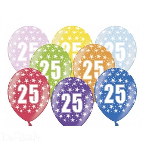 10 Luftballons 25. Geburtstag Metallicfarben Ø 30cm