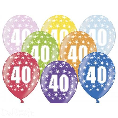 10 Luftballons 40. Geburtstag Metallicfarben Ø 30cm