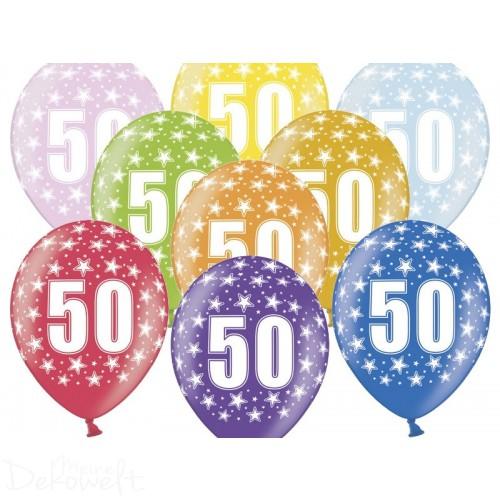10 Luftballons 50. Geburtstag Metallicfarben Ø 30cm