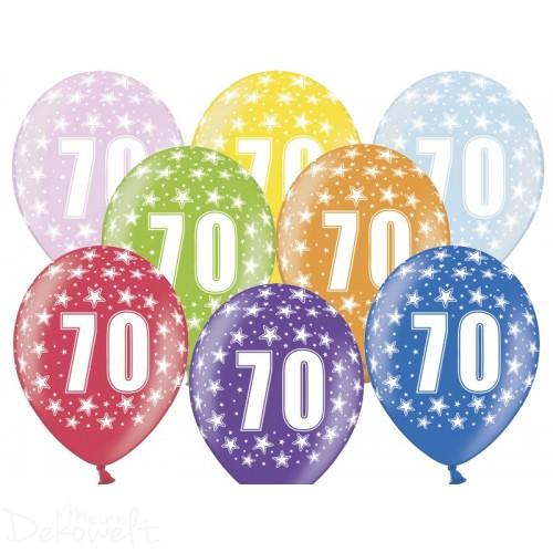 10 Luftballons 70. Geburtstag Metallicfarben Ø 30cm