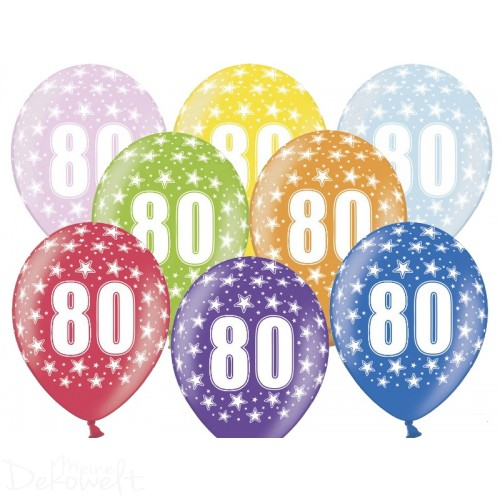 10 Luftballons 80. Geburtstag Metallicfarben Ø 30cm