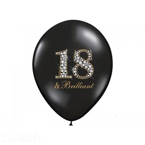 "10 Luftballons ""18 & Brilliant"" Pastellschwarz Ø 30cm"