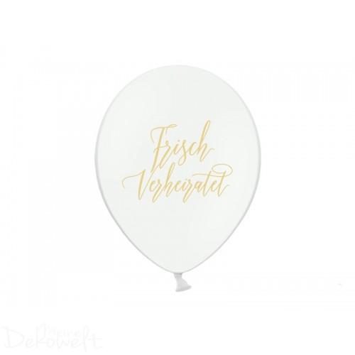 """10 weiße Luftballons """"Frisch Verheiratet"""" Ø 30cm"""
