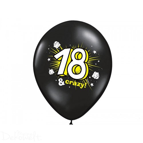 "10 Luftballons ""18 & crazy"" Pastellschwarz Ø 30cm"