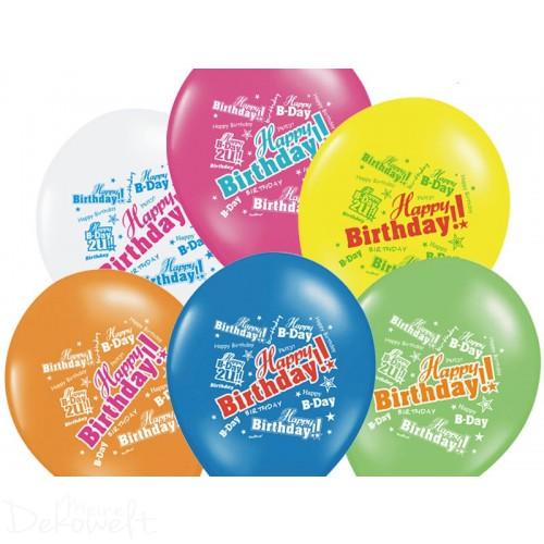 """10 Luftballons """"Happy Birthday"""" Bunt Ø 30cm"""
