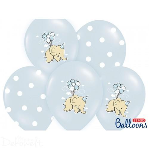 "10 blaue Luftballons ""Elefanten + Punkte"" Ø 30cm"