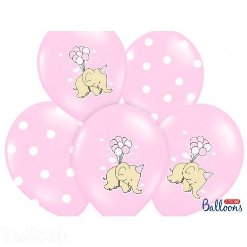"10 rosa Luftballons ""Elefanten + Punkte"" Ø 30cm"