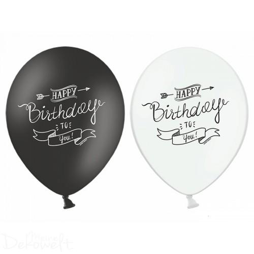 """10 Luftballons """"Happy Birthday"""" Schwarz/Weiß Ø 30cm"""