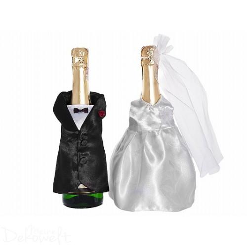 Flaschenverkleidung Hochzeit Anzug+Brautkleid