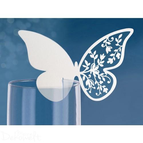 10 Platzkarten Schmetterling 12,5cm x 7,6cm Hochzeit Geburtstag Taufe