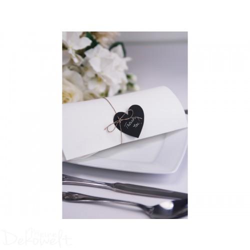 10x schwarze Papierherzen mit Bindfaden 5x 4,5cm