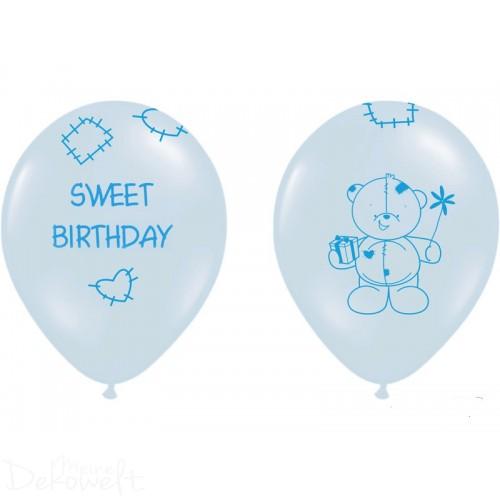 "10 blaue Luftballons ""Sweet Birthday""  Ø 30cm"