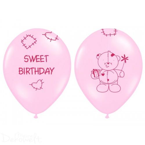 "10 rosa Luftballons ""Sweet Birthday"" Ø 30cm"