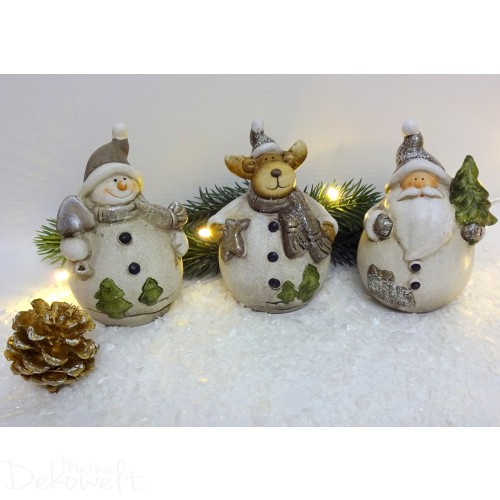 "Weihnachtsfigur 3er-Set ""Kugelbauch"" Terracotta 10cm"