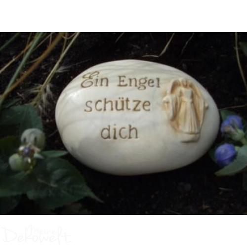 """Grabschmuck Stein """"Ein Engel schütze dich"""" 18cm x 13cm x 6cm Keramik 3D Motiv"""