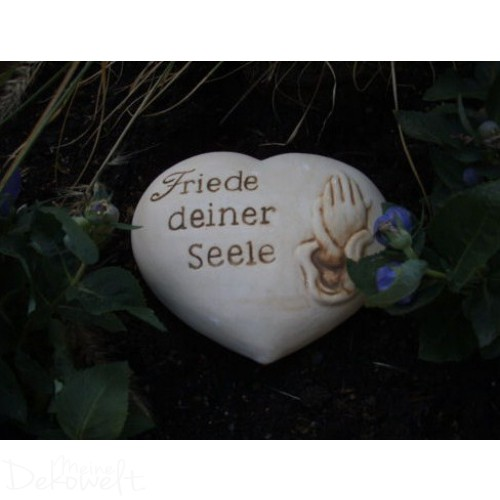 """Grabschmuck Stein """"Friede deiner Seele"""" 11cm x 10cm x 4cm Keramik 3D Motiv"""