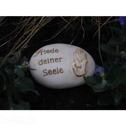 """Grabschmuck Stein """"Friede deiner Seele"""" 18cm x 13cm x 6cm Keramik 3D Motiv"""