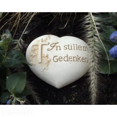 """Grabschmuck Stein """"In stillem Gedenken"""" 18cm x 14cm x 6cm Keramik 3D Motiv"""