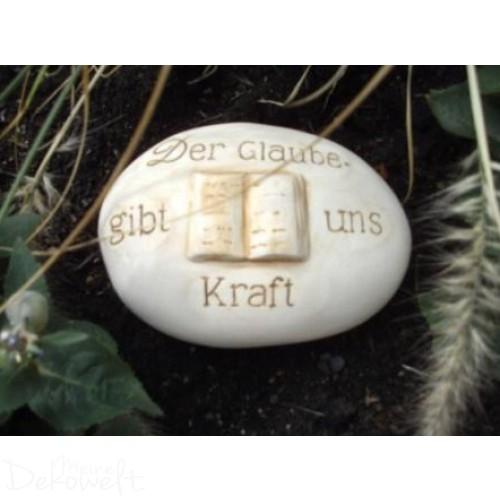 """Grabschmuck Stein """"Der Glaube gibt uns Kraft"""" 18cm x 13cm x 6cm Keramik 3D Motiv"""
