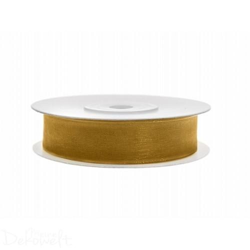 25m x 12mm Chiffonband Gold