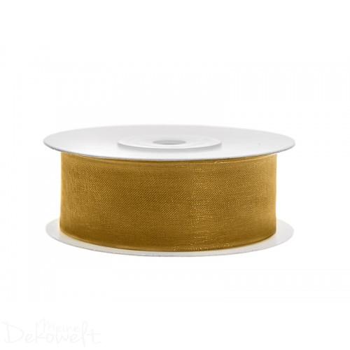 25m x 25mm Chiffonband Gold