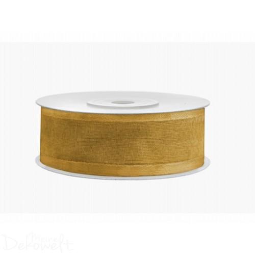 25m x 25mm Chiffonband mit Satinrand Gold