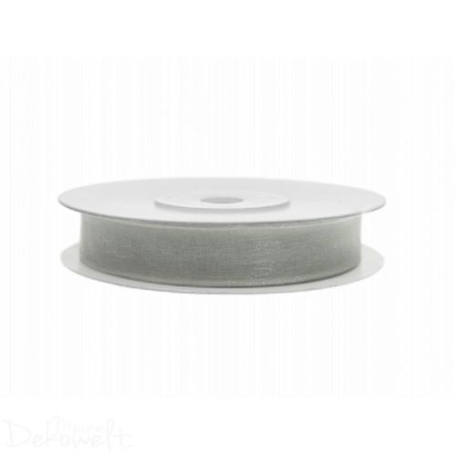 25m x 6mm Chiffonband Grau