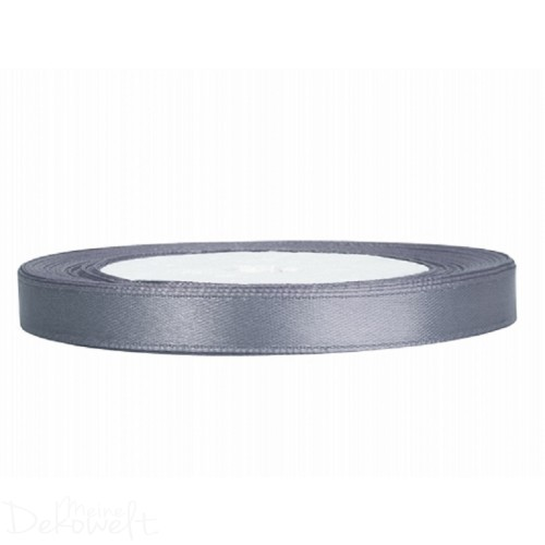 25m x 6mm Satinband Grau