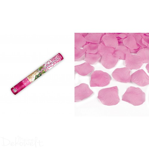 Konfetti-Kanone Rosa Rosenblätter 40cm Blütenregen